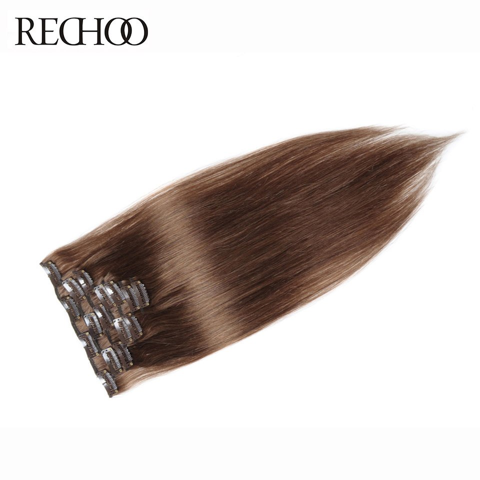 Rechoo #8 Light Brown Brazilian Machine Made Remy Straight Clips In Human Hair Clip In Extensions 7Pcs/Set 90 Gram Full Head Set