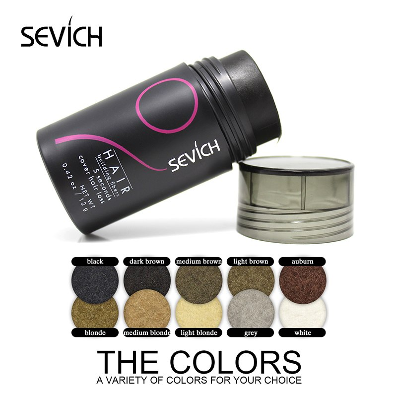 SEVICH 12g Extension Wigs Baldness Concealer Hair Fibers Styling Powders Keratin Thickening Fiber Hair Spray Applicator 10Colors