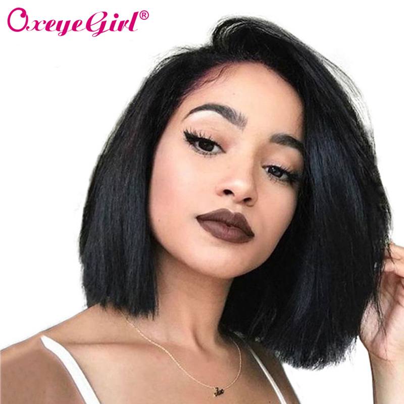 Short Bob Wig Lace Front Human Hair Wigs Brazilian Straight Wig 13x6 Lace Front Wig For Black Women 150 Density Remy Oxeye girl