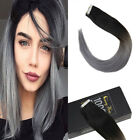 Sunny 50g 20pcs Remy Tape in Human Hair Extensions Natural Black Ombre Blue Grey