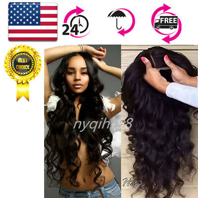 """US 22""""130% Brazilian Wig Density Lace Front Pre Plucked +Baby Hair Body Wave"""