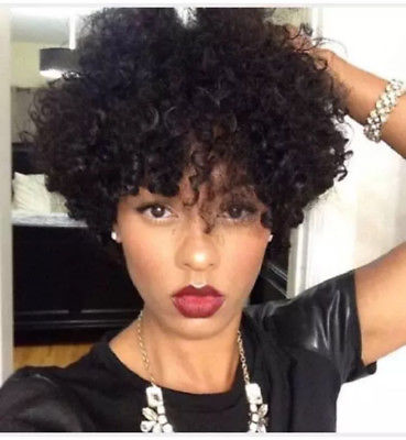 US African American Wigs Short Black Afro Kinky Curly Wave Hair Wig for Women