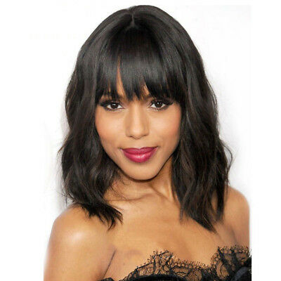 US Brazilian Nature Wave Lace Human Hair Wigs With Bangs Glueless Lace Front Wig