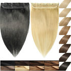 US On Sale One Piece Clip In Real Remy Human Hair Extensions 3/4 Full Head SOFT