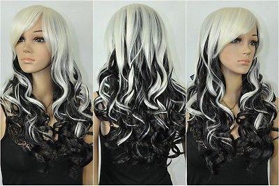 USJF939 pretty Hair Black white Mixed Long Wavy Cosplay Wig wigs for women