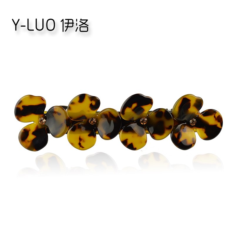 Women heawear vintage hair barrette leopard rhinestone hair clip boutique flower hair accessories for women