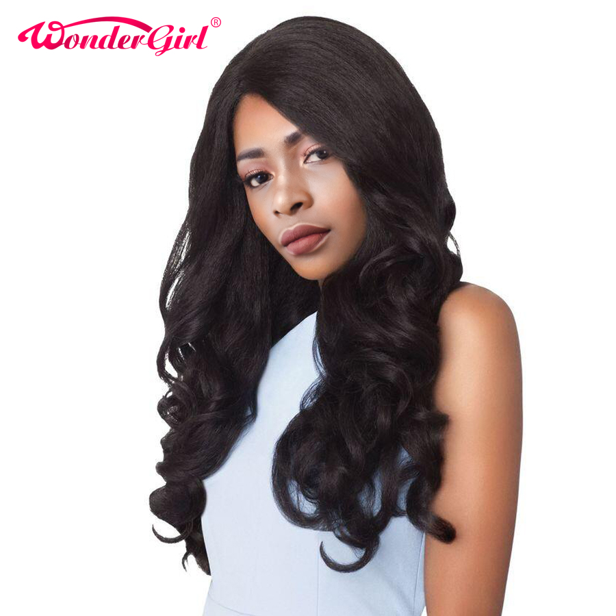 Wonder girl Glueless Lace Front Human Hair Wigs For Black Women Malaysian Body Wave Pre Plucked Lace Front Wig Remy Hair Wig