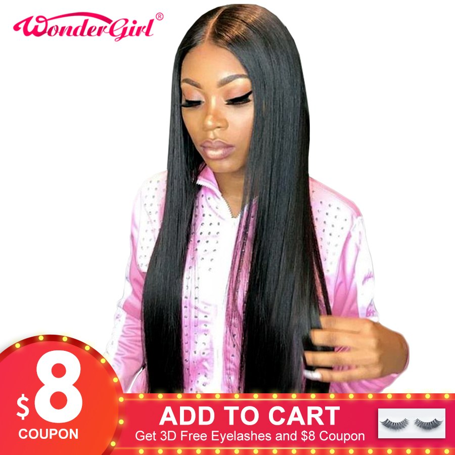 Wonder girl Glueless Lace Front Human Hair Wigs For Women Black Pre Plucked Brazilian Straight Lace Wig With Baby Hair Remy Wig
