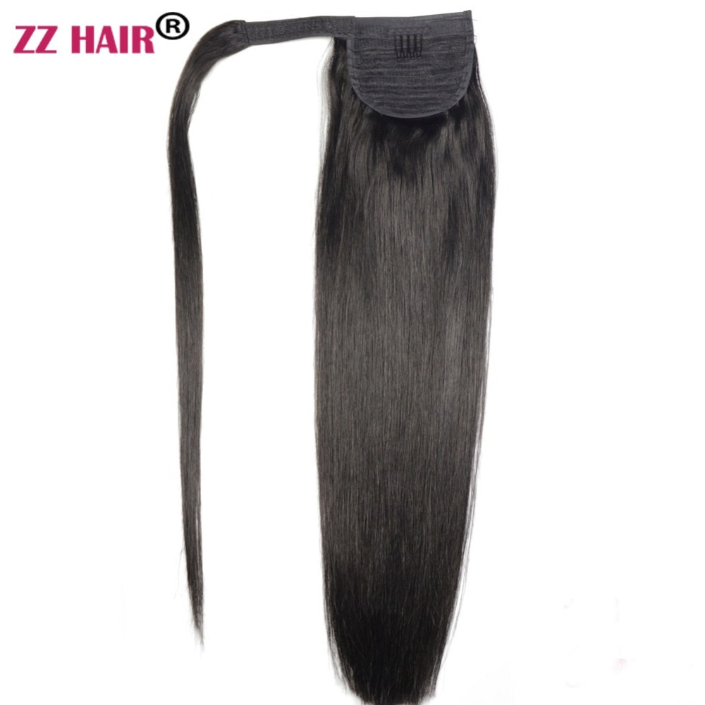 """ZZHAIR 100g 16""""-26"""" Machine Made Remy Hair Magic Wrap Around Ponytail Clip In 100% Human Hair Extensions Horsetail Stragiht"""