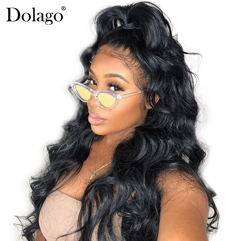 180% Density Full Lace Human Hair Wigs For Women Brazilian Body Wave Wig Pre Plucked Front With Baby Hair Dolago Remy Black