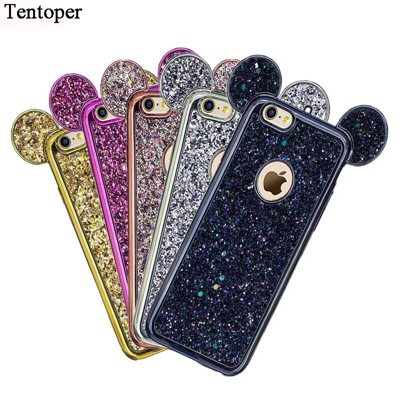 Bling Paillettes Coque For Samsung S9 S8 Plus/S7 Edge Case Glitter Sequin Mickey Ear Cover For iPhone X 8 7 6 6s Plus 5s se Case