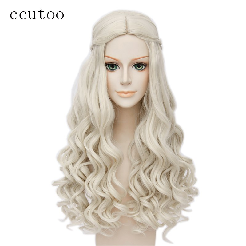 ccutoo Alice in Wonderland White Queen Cosplay Wig Blonde Wavy Long Braid Styled Synthetic Hair Heat Resistance Fiber