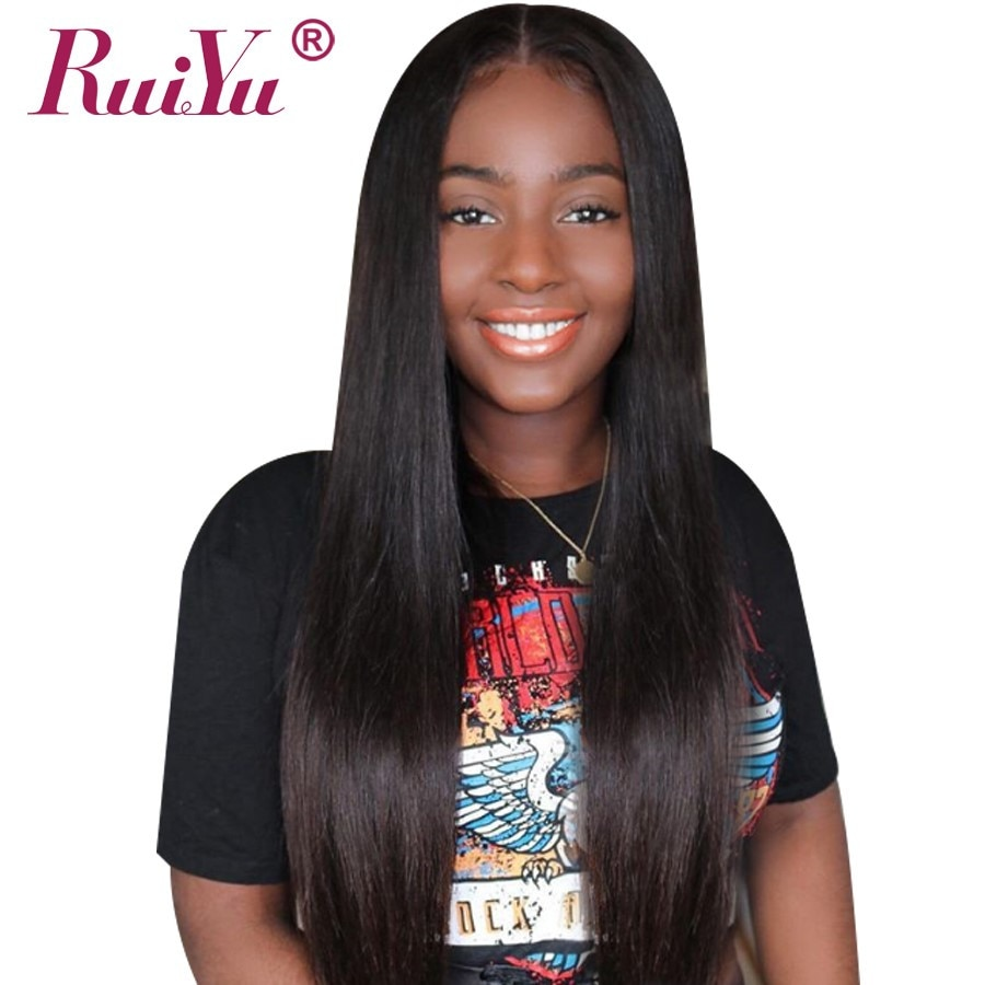 Peruvian Wig Lace Front Human Hair Wigs Straight Lace Front Wig For Black Women RUIYU Wigs Long Remy Hair 10-26 Inch Can Be dyed