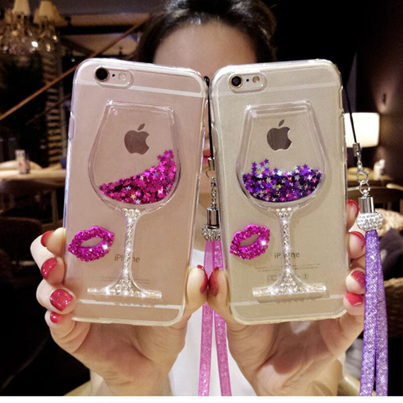 S9 Plus Case 3D Liquid Quicksand Wine Glass Phone Cases For Samsung S8 Plus Case Samsung S9 Rhinestone Phone Cases Note 9 Note 8