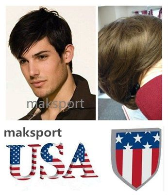 US stock Natural Men Human Hair Wig Wigs Mens Short Hair Straight Layered