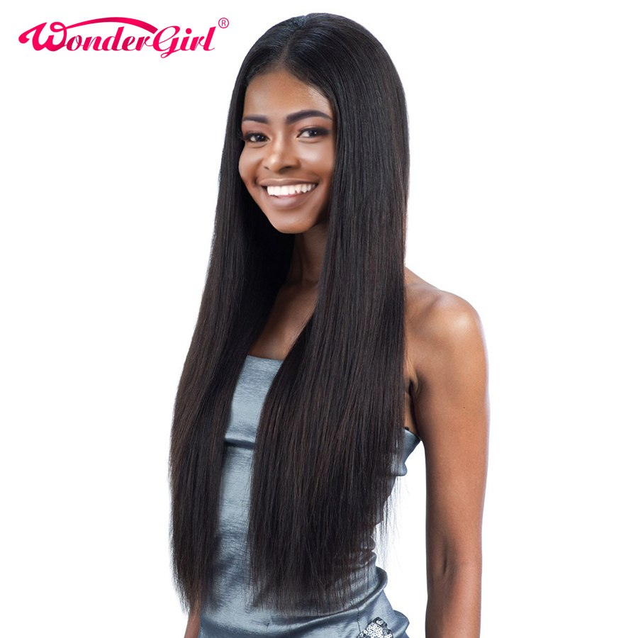 Wonder girl Pre Plucked Full Lace Human Hair Wigs For Black Women Remy Brazilian Straight Lace Wig With Baby Hair No Shedding