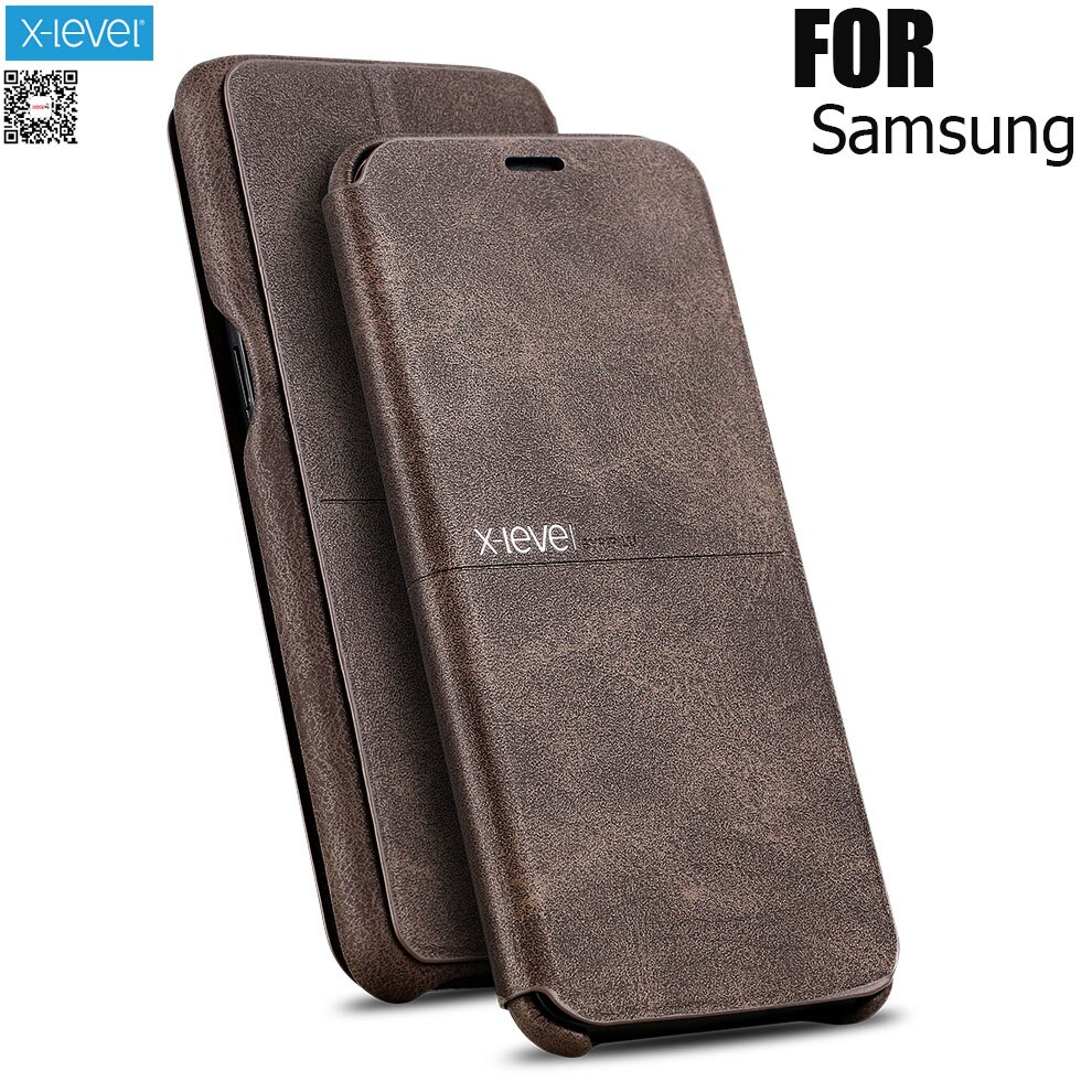 X-Level Extreme Flip Leather Case For samsung s9 S10Plus case S7 edge S8 Retro Vintage Classic bookcase Cover For note 9 Note 8