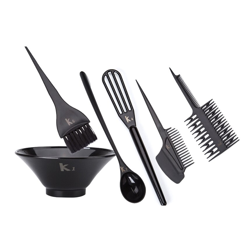Black Color Professional Hair Dyeing Brush Set Hair Coloring Tools Kit Hairdresser Hairstyling Tools In 6 pcs Hair Comb