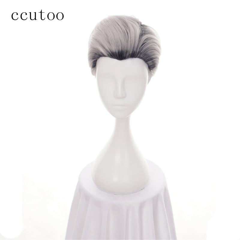 ccutoo 30cm Descendants 2 Men Short Carlos De Vil Black Grey Ombre Synthetic Hair Cosplay Wig Heat Resistance Fiber