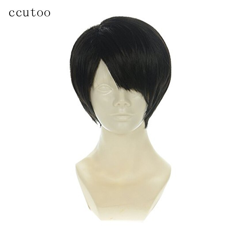 ccutoo Attack on Titan Levi Ackerman 12inch Black Short Straight Synthetic Wig For Men Halloween Party Cosplay Costume Wig