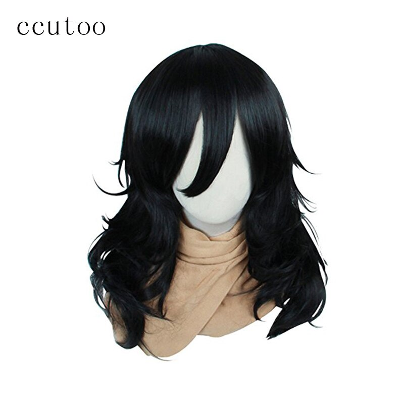 ccutoo My Hero Academia Boku no Hiro Akademia Shouta Aizawa Black Synthetic Curly Hair Cosplay Wig Heat Resistance Fiber