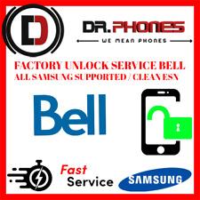 FACTORY BELL UNLOCK SERVICE FOR BELL CANADA SAMSUNG ALL MODELS CLEAN UNLOCK