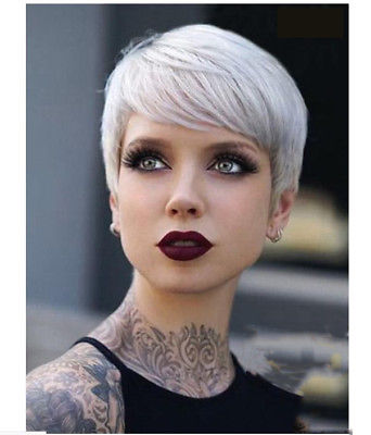 Fashion Short Silver White Wigs For Women Short Pixie Hair Wavy Wigs With bangs