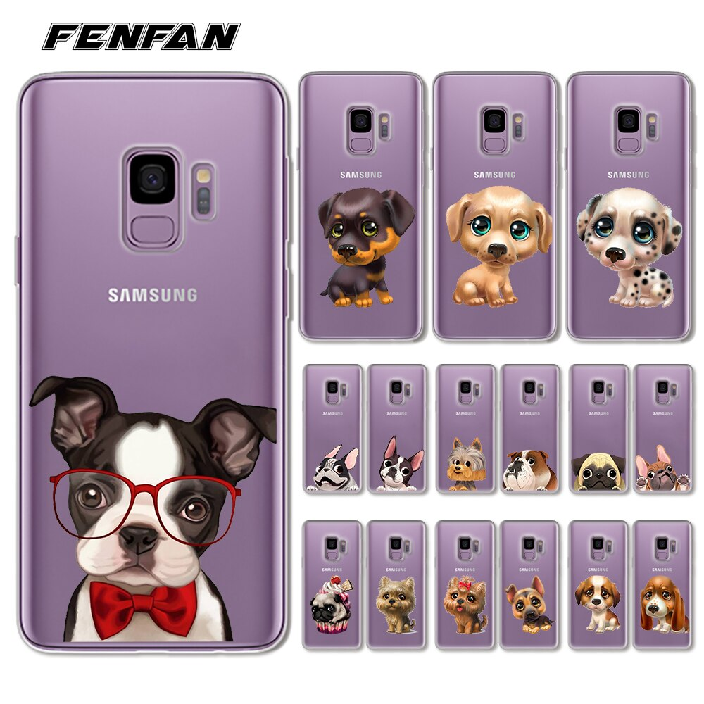 For 2017 new coque Samsung Galaxy S9 case Cute dog Soft TPU cover for Samsung Galaxy S8 S7 S7 Edge S8 S9 Plus case