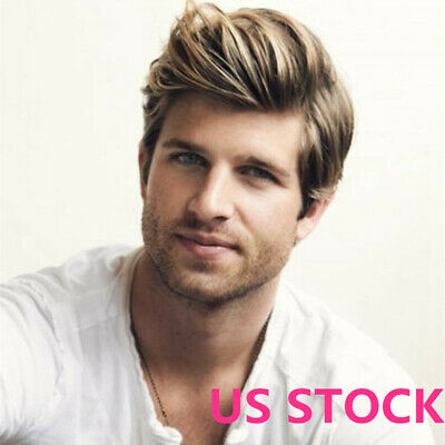 Handsome Fashion Hair Short Straight Custom Hairstyle Men's Wig Blonde New Wigs