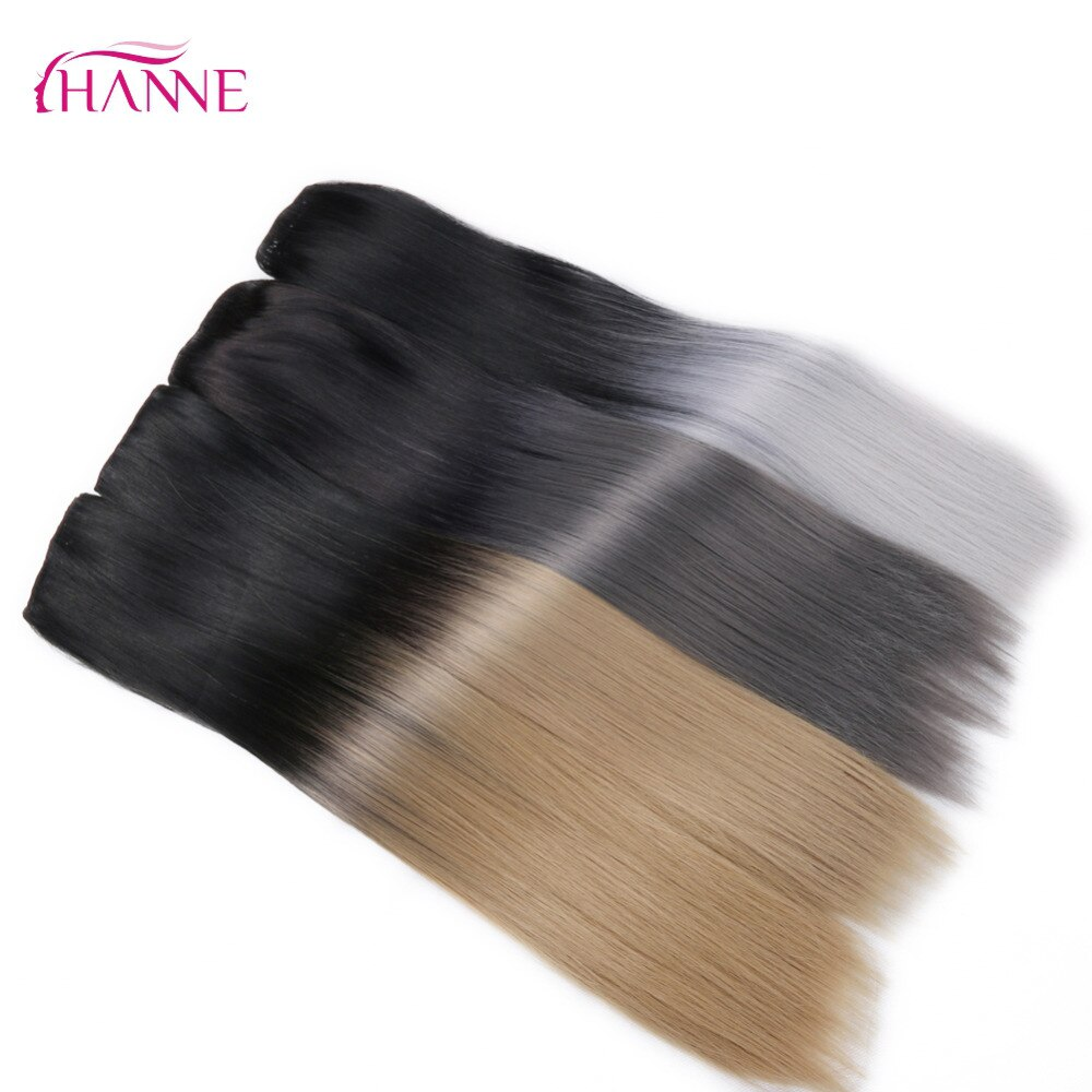 "HANNE 24""Long Straight 5 Clips In Extension Black To Blonde Or Grey Heat Resistant Synthetic Hair Extensions Clip In Hair Weave"