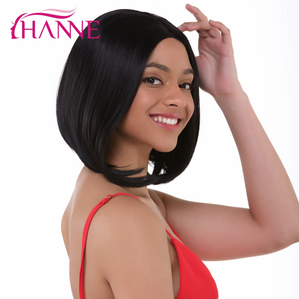 HANNE Black Bob Wig Lace Front Wigs Short Straight Heat Resistant Synthetic Hair Women Cosplay Or Party Fiber Wig Middle Part