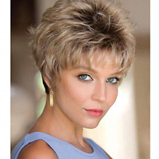 MEILEDA Short Blonde Wigs for White Women Pixie Wigs Black Rooted Ombre Blonde