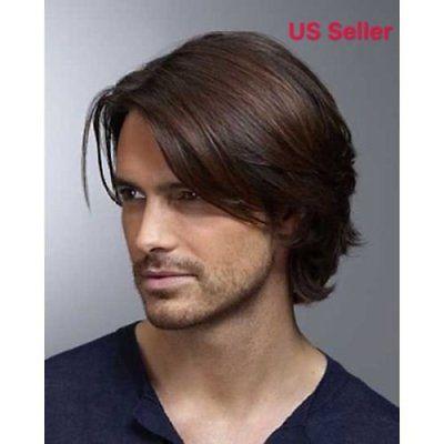 Men Short Brown Straight Hair Costume Rock Star Handsome looking Wig Toupee