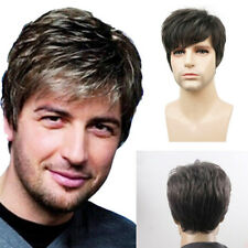 NEW Handsome Men's Man Short Brown Mixed Cosplay Natural Hair Wigs Full Wig