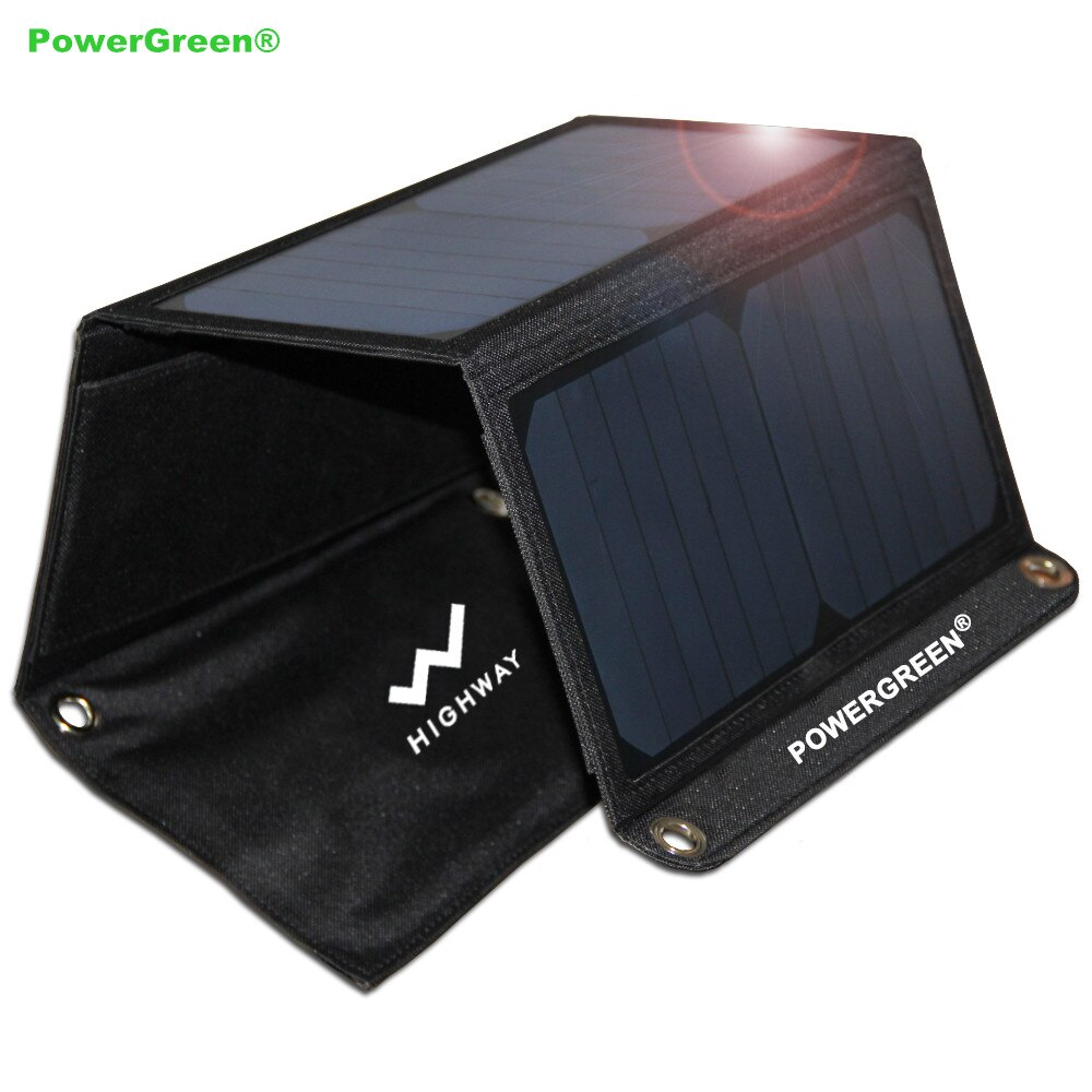 PowerGreen Portable Solar Charger 21 Watts Double USB Ports Solar Power Bank Folding Solar Panel Solar Bag for Mobile Phone