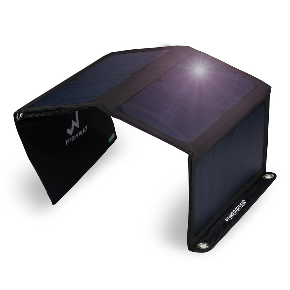 PowerGreen Solar Charger Panel Double Output 21 Watts Folding Solar Cell Power Bank Battery Backup Bag Solar Charger for Phones