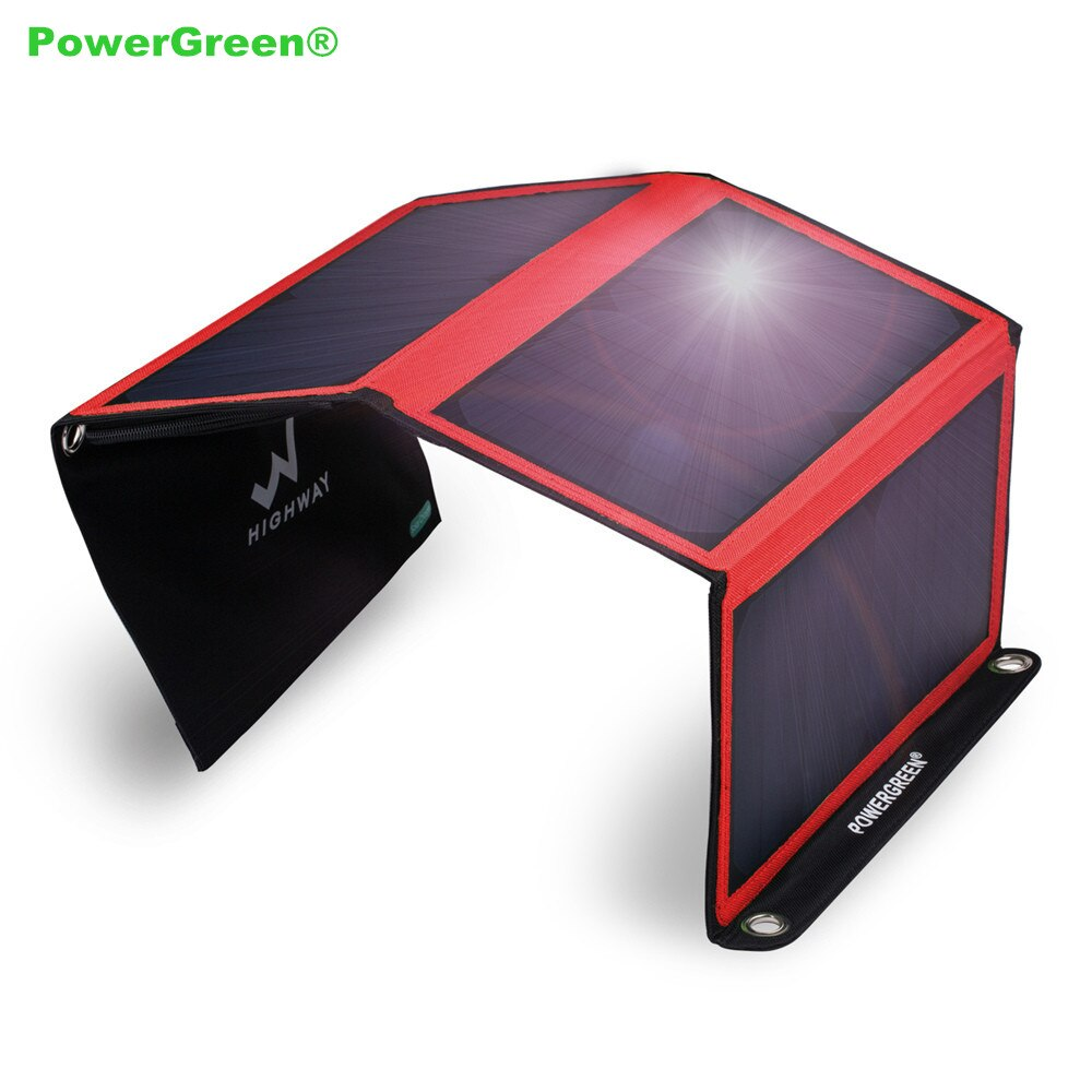 PowerGreen Thin Folding Solar Charger 21 Watts External Battery Backpack Solar Power Bank Jump Starter Charger for Mobile Phones