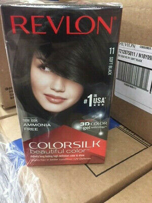 Revlon Hair Dye, Colorsilk 11 Soft Black 3D Color Gel Permanent, Amonia Free NEW