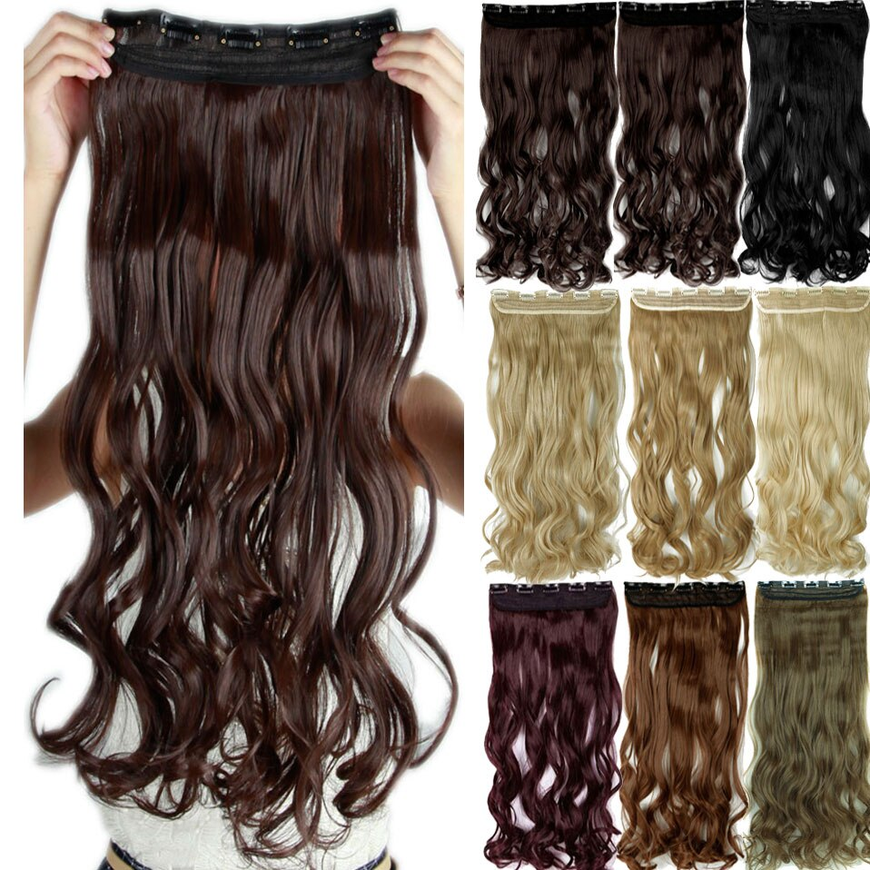 "SNOILITE 17/24/27/29"" Long Curly Synthetic Clip in one piece Hair Extensions Half Full Head Hairpiece with 5 clips Black Brown"