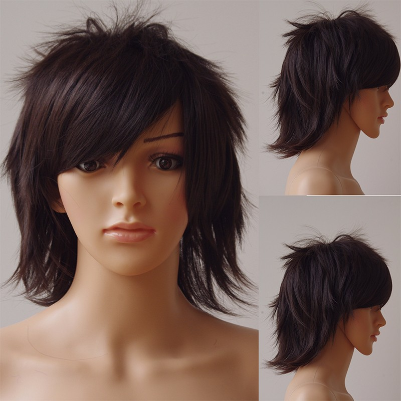 SNOILITE 30cm Cosplay Short Wig Synthetic Black Brown Pink Brown Halloween Costume Party Dress Wigs for Women Men
