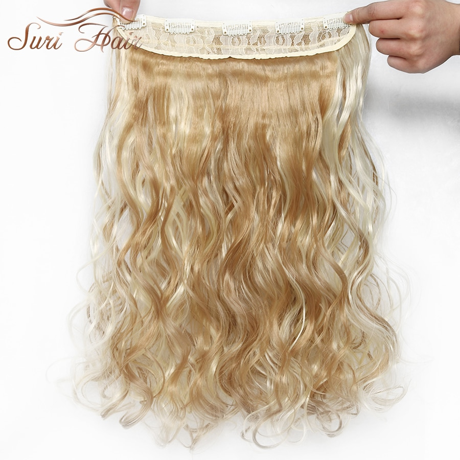 Suri Hair 6 Colors 24 inch Black/Brown/Blonde Long Wavy Synthetic Hair 5 Clip In Extensions High Temperature Women Hair Piece