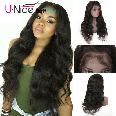 UNice Brazilian Body Wave Human Hair Lace Front Wigs For Black Women Full Wig16""