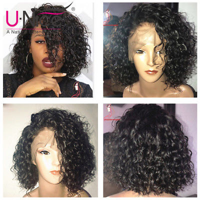 UNice Brazilian Water Wave Bob Wig Lace Front Human Hair Wigs For Black Women 8""