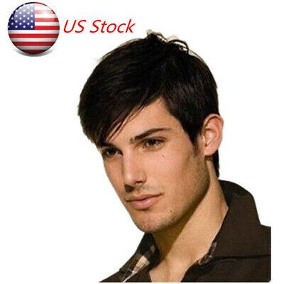 US Brown Natural Men Human Hair Wig Wigs Mens Short Hair Straight Layered