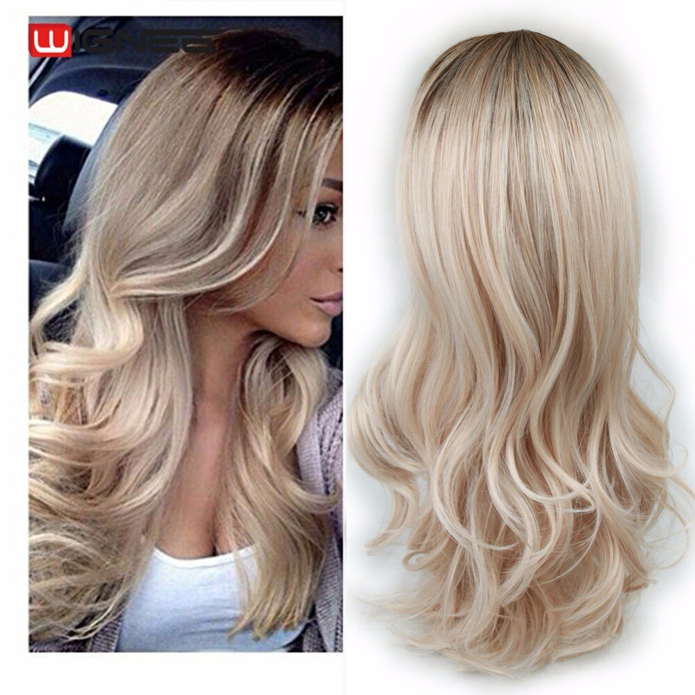 Wignee Long Ombre Brown Ash Blonde High Density Temperature Synthetic Wig For Black/White Women Glueless Wavy Cosplay Hair Wig