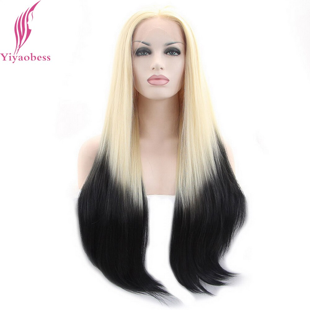 Yiyaobess Light Blonde Black Ombre Lace Front Wig Synthetic Natural Hair Two Tone Glueless Long Straight Wigs For White Women