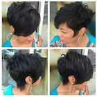100% Real Remy Human Hair Full Wig Short Cut Wavy Hair Wigs Black for Women US y