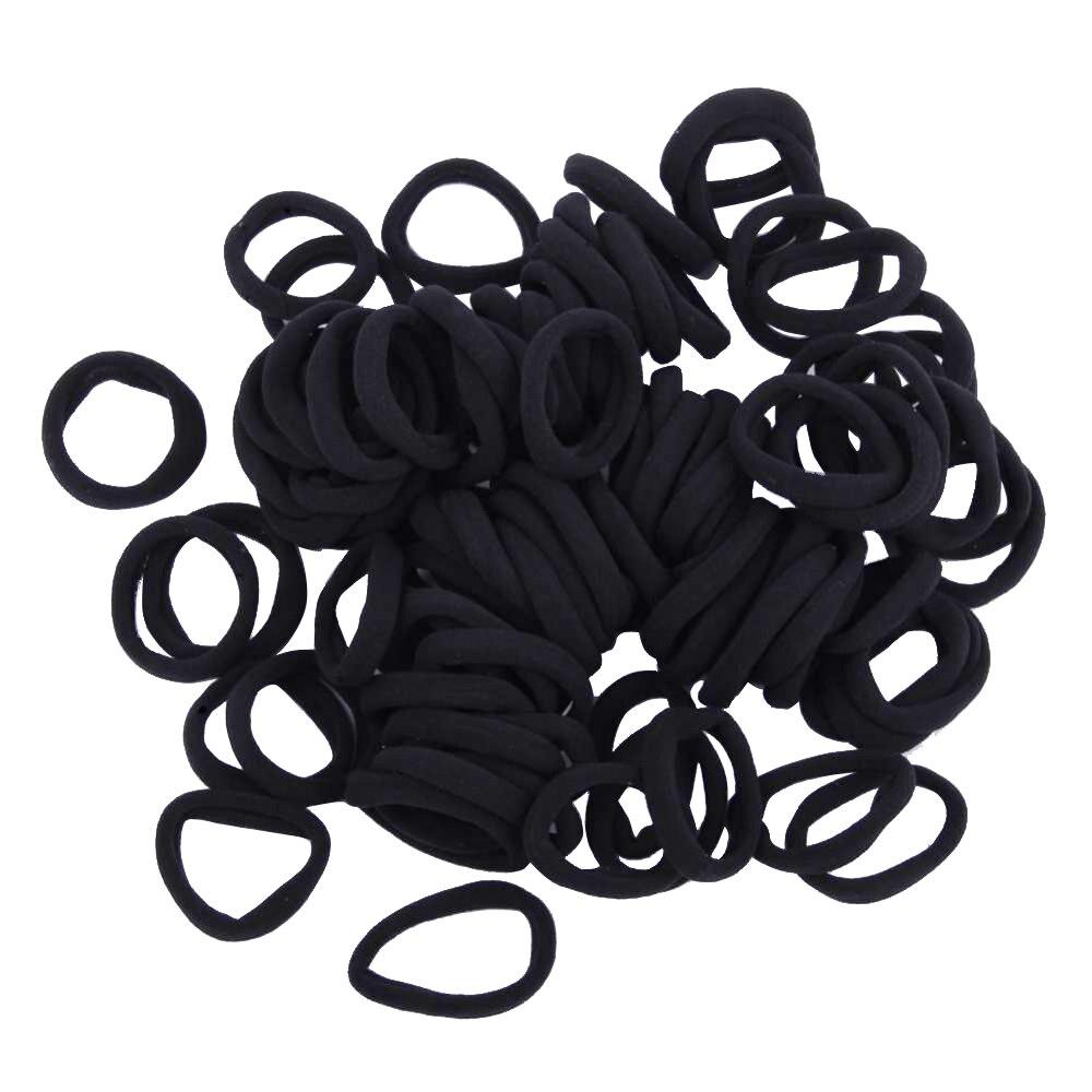 100pcs/lot Black Elastic Hair Ties Kids Girls Hair Band Rope Ponytail Holders Scrunchie Headband Hair Accessories Drop Shipping