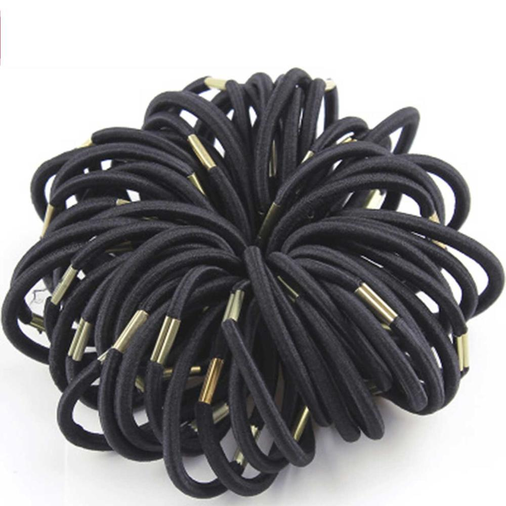 50PCS/Lot New High Quality Women Colorful Elastic Hair Rubber Band Black Hair Rope Ponytail Holder Girl Hair Accessories Tie Gum