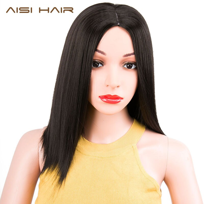 AISI HAIR Short Black Pink Straight Bob Wig Pixie Cut Hair Synthetic Wigs Shouder Length for Women Heat Resistant